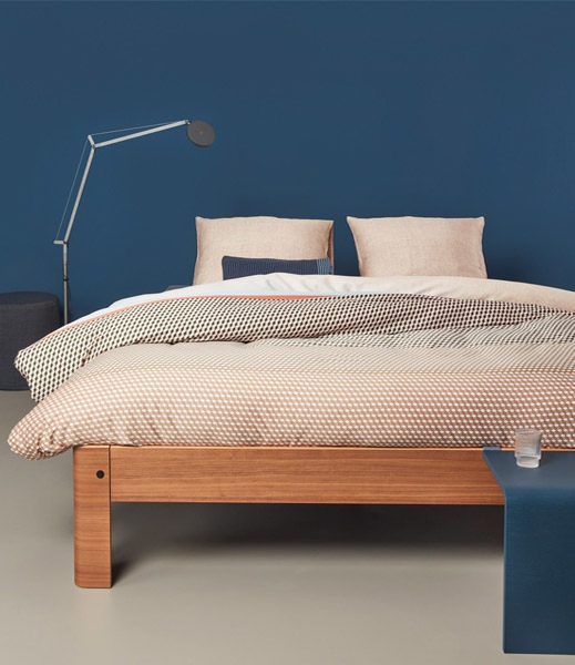 Symmetry blue 2 Auping bed matras boxspring beddengoed dekbedovertrek beddenbodem vanderlindeinterieur